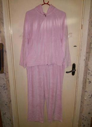 80% коттон,велюровый,розовый,спорт-домашний костюм большого18-...