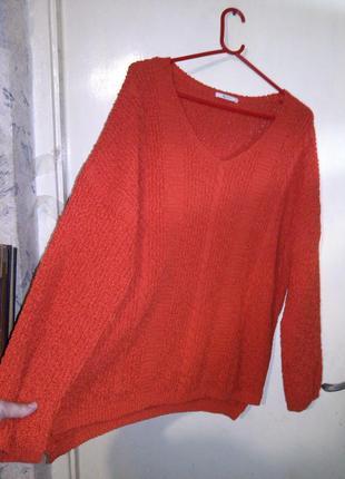 Женственный,яркий,свитер-джемпер с удлинённой спинкой,крупной ...