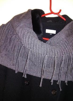 Тёплый,трикотажной вязки,оригинальный серый,длинный шарф с бах...