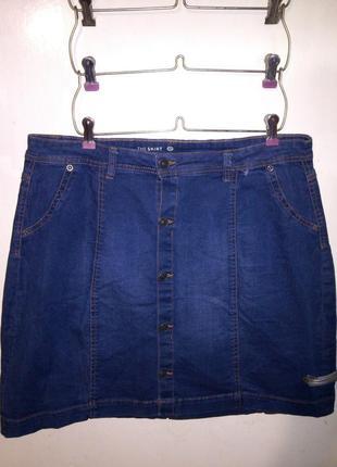 Классная-стрейч-коттон-джинсовая юбка на пуговицах,большого 14...