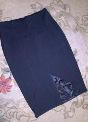 Бомбезная:стрейч-трикотаж,угольно-чёрная ,миди-юбка-карандаш с...