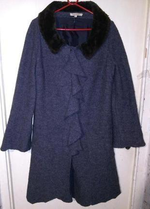 Тёплое-80% валяная шерсть,асимметр.серое пальто с воланом и ка...