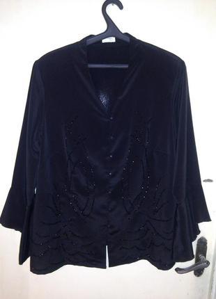 Нарядная блуза,расшитая бусинами,большого размера