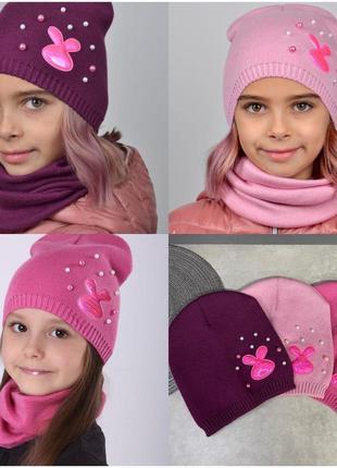Шапочка для девочки, шапочка с зайчиком, детская шапочка