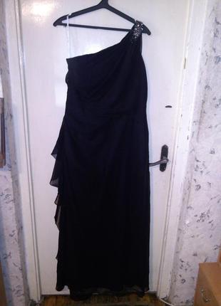 Роскошное,элегантное,чёрное,вечернее платье в пол, большого ра...