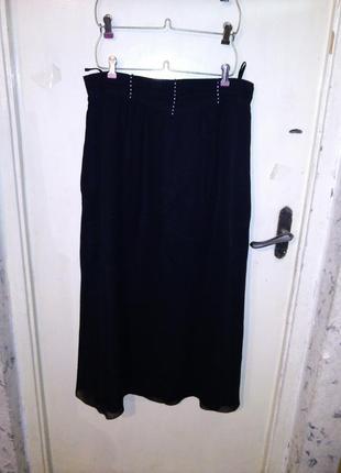 Нарядная,длинная юбка с стразиками на поясе,большого размера,о...