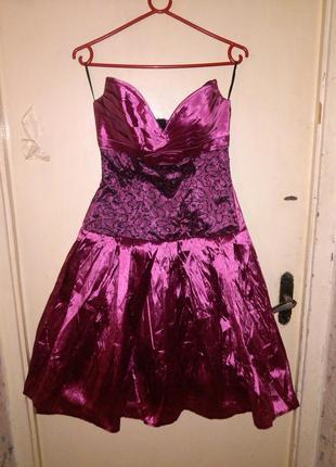 Новое,нарядное,коктейльное,роскошное платье из тафты,гипюра и ...