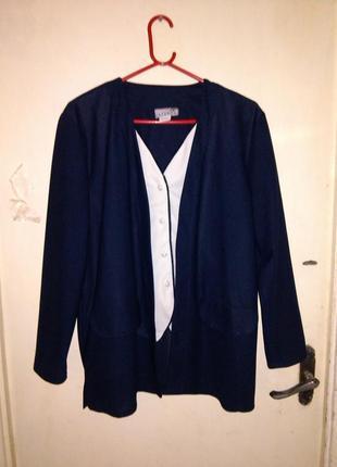 """Элегантная,классическая сине-белая кардиган-блуза-""""обманка"""",бо..."""