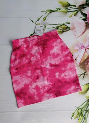 Юбка женская на резинке, розово-дымчастый принт
