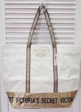 Шикарная сумка виктория сикрет victoria's secret золотая бежев...