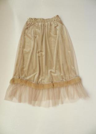 ✅ великолепная юбка миди бархат стрейч фатин евро сетка натура...