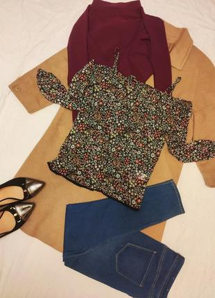 Блуза майка цветочная шифоновая с открытыми плечами оверсайз с...
