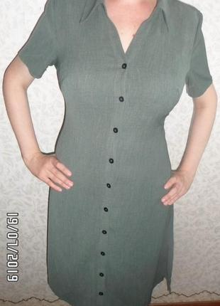Платье-халат цвета хаки