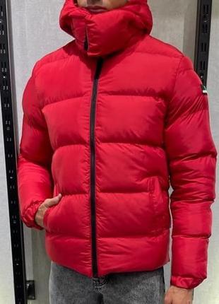 Куртка пуховик мужская стеганая красная турция / курточка чоло...