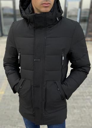 Куртка парка мужская стеганая чорна турция / курточка чоловіча...