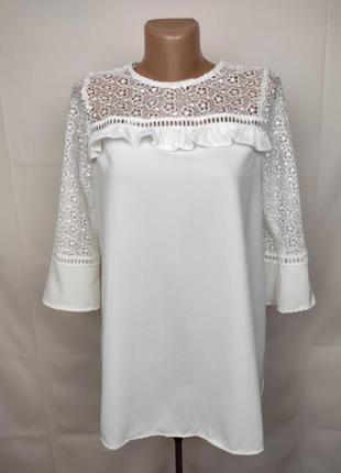 Блуза белая шикарная с кружевной кокеткой для беременных new l...