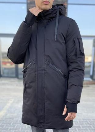 Куртка парка мужская базовая черная турция / курточка чоловіча...