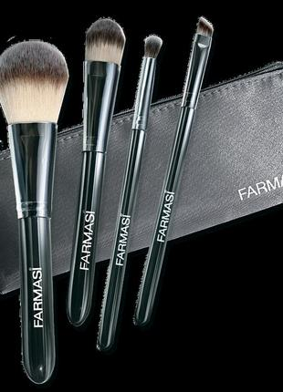 Farmasi набор кистей( 4 штуки) c косметичкой для макияжа