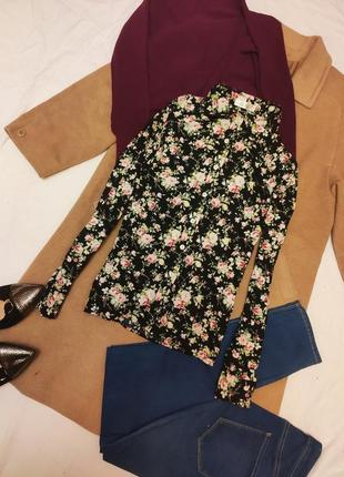 Рубашка черная цветочная с длинным рукавом хлопковая коттоновая