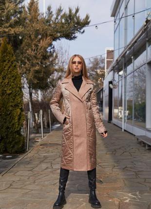 Демисезонное комбинированное пальто классического покроя