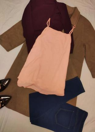 Шифоновая блуза майка персиковая оранжевая f&f