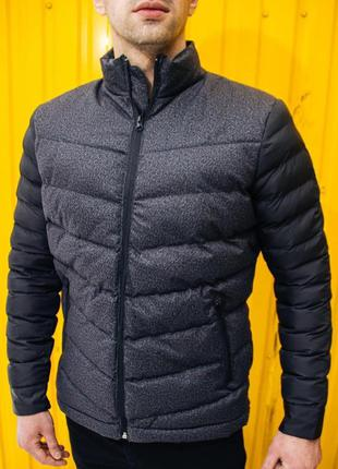Куртка бомбер теплая мужская стеганая серая турция / курточка ...