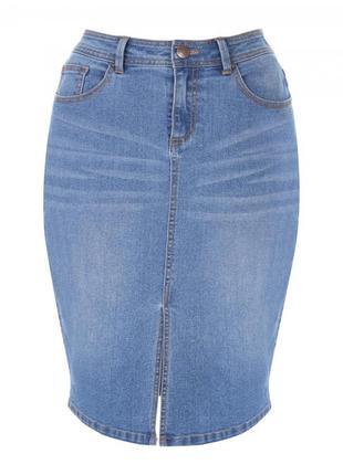 Джинсовая юбка по фигуре с разрезом спереди р.12