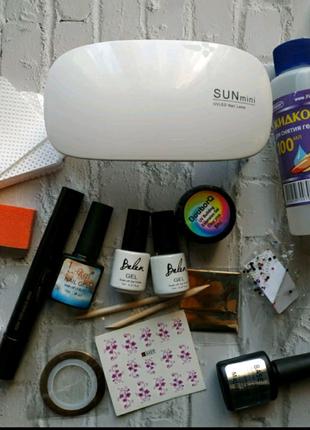 Набір для нігтів манікюру лед уф лампа база топ 5шт гель лаки