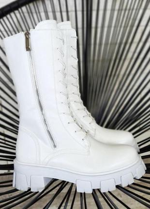 Женские белые высокие сапоги берцы зимние деми