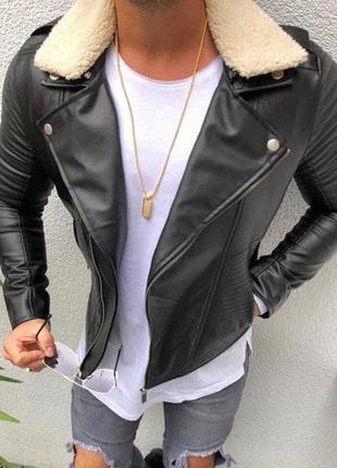 Кожанка мужская теплая с мехом черная / куртка чоловіча курточ...