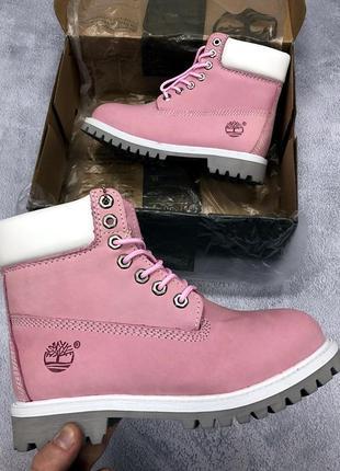 Шикарные розовые женские ботинки timberland (осень/зима)