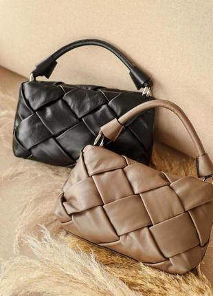Черная плетеная стильная кожаная сумка в стиле bottega veneta,...