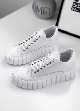 Шикарные белые кроссовки кеды, натуральная кожа
