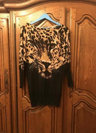 Платье-туника в леопардовый принт