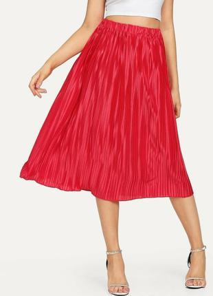Яркая красная розовая юбка плиссе st. michael