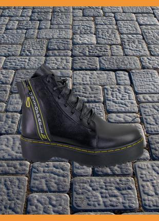 Ботинки демисезонные женские кожаные черные Medium , размер 37.39