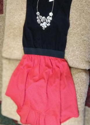Платье на резинке со шлейфом комбинированное