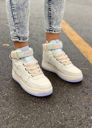 Женские кожаные кроссовки🔥nike af1 utility sportswear cream high🔥