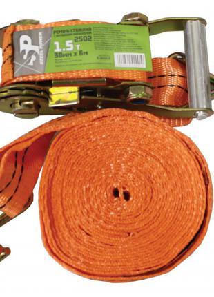 Ремінь стяжний 1.5 т, 6 м х 38 мм, поліестер. 2502 STEEL POWER