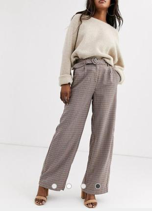 Трендовые брюки в клетку с широкими штанинами, высокая талия
