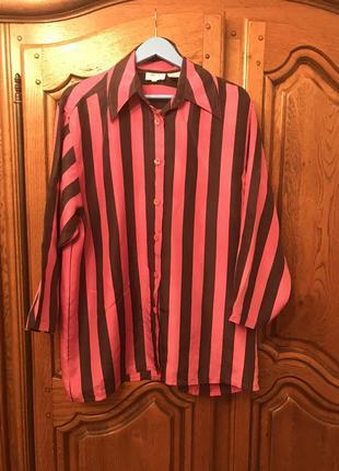 Шёлковая блузка, рубашка в полоску большого размера