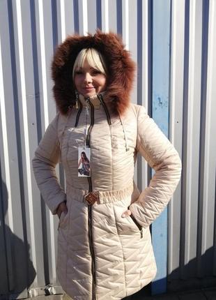 Зимнее пальто мех песец р52