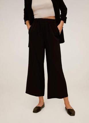 Черные классические кюлоты широкие брюки  в офис