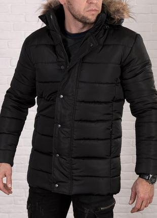 Мужская зимняя куртка с мехом на капюшоне l