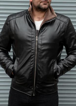Зимняя кожаная куртка на меху