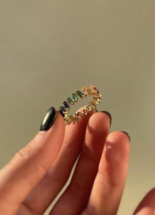 Кольцо с позолотой 18к и разноцветными кубическими циркониями ...