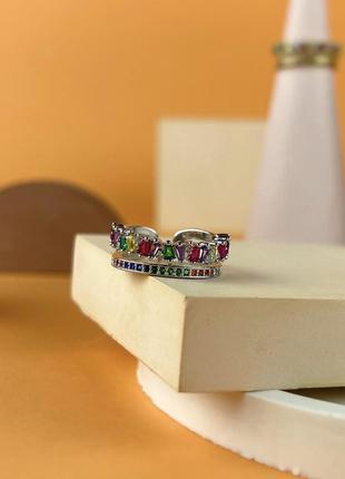 Кольцо с серебра 925' и разноцветными кубическими циркониями