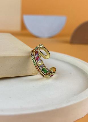 Кольцо с позолотой 18к и разноцветными кубическими циркониями