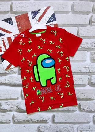 Красные футболки among us амонг ас мальчикам 7-12 лет