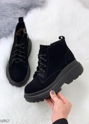 Стильные зимние ботинки из натуральной замши